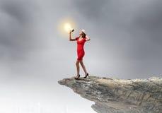 Mujer con el megáfono Imagen de archivo libre de regalías
