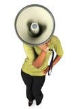 Mujer con el megáfono Fotos de archivo
