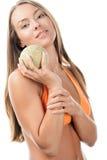 Mujer con el melón fotografía de archivo