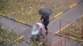 Mujer con el niño afuera en día nevoso del otoño metrajes