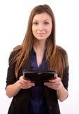 Mujer con el ordenador de la tablilla Foto de archivo libre de regalías