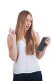Mujer con el ordenador de la tablilla Imagen de archivo libre de regalías