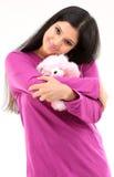 Mujer con el oso de peluche Fotografía de archivo libre de regalías