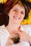 Mujer con el panel de control  Foto de archivo libre de regalías