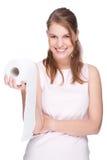 Mujer con el papel higiénico Imágenes de archivo libres de regalías