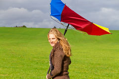 Mujer con el paraguas Fotografía de archivo