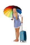 Mujer con el paraguas aislado en blanco Foto de archivo libre de regalías