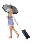 Mujer con el paraguas aislado en blanco Imágenes de archivo libres de regalías