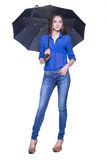 Mujer con el paraguas contra el fondo blanco Imagen de archivo libre de regalías