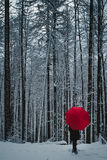 Mujer con el paraguas rojo en bosque del invierno Imagen de archivo