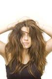 Mujer con el peinado loco Imagen de archivo
