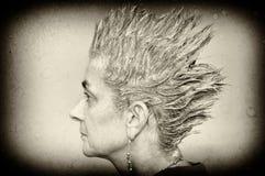 Mujer con el pelo de punta Foto de archivo