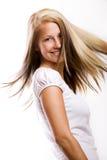 Mujer con el pelo del vuelo Fotos de archivo libres de regalías