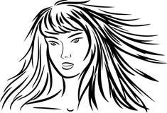 Mujer con el pelo largo stock de ilustración