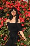Mujer con el pelo oscuro que presenta en jardín del flor con los arbustos de rosas Imagen de archivo