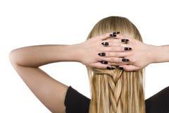 Mujer con el pelo rubio imagenes de archivo