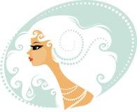 Mujer con el pelo rubio rizado stock de ilustración