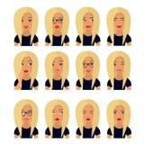 Mujer con el pelo rubio y las emociones Iconos del usuario Ejemplo del vector de Avatar stock de ilustración