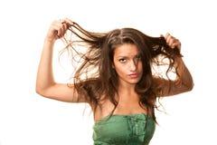 Mujer con el pelo sucio imágenes de archivo libres de regalías