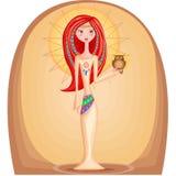 Mujer con el pelo y el búho rojos Imagenes de archivo