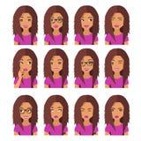Mujer con el pelo y las emociones de la castaña Iconos del usuario Ejemplo del vector de Avatar stock de ilustración