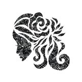 Mujer con el pelo y las flores hermosos con textura del grunge Imagenes de archivo
