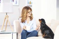 Mujer con el perro casero en casa Imagen de archivo libre de regalías