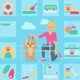 Mujer con el perro en un ejemplo del parque Stock de ilustración