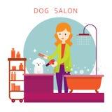 Mujer con el perro, tienda de la preparación Fotografía de archivo