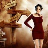 Mujer con el poste indicador a los lugares espeluznantes Imagenes de archivo