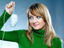 Mujer con el ratón fotos de archivo