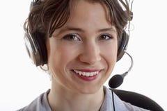 Mujer con el receptor de cabeza fotografía de archivo libre de regalías