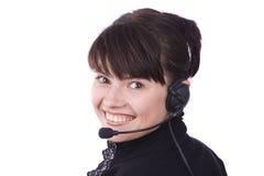 Mujer con el receptor de cabeza Fotografía de archivo