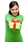 Mujer con el regalo Imagenes de archivo
