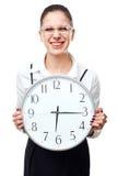 Mujer con el reloj Fotografía de archivo