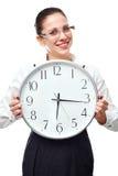 Mujer con el reloj Foto de archivo