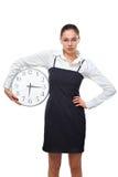 Mujer con el reloj Imagen de archivo libre de regalías