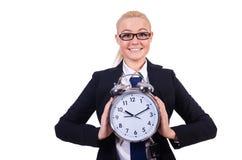 Mujer con el reloj gigante imágenes de archivo libres de regalías