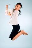 Mujer con el salto del dinero Fotografía de archivo