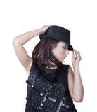 Mujer con el sombrero de ala aislado en blanco Foto de archivo libre de regalías