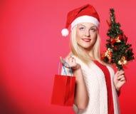 Mujer con el sombrero de Papá Noel que sostiene los panieres Fotos de archivo libres de regalías