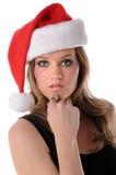 Mujer con el sombrero de Santa fotos de archivo