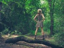 Mujer con el sombrero en bosque del inicio de sesión Imágenes de archivo libres de regalías