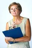 Mujer con el sujetapapeles Imágenes de archivo libres de regalías