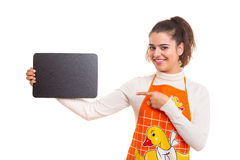 Mujer con el tablero del menú Imagen de archivo libre de regalías