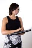 Mujer con el teclado sin hilos 1 Fotos de archivo libres de regalías