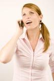 Mujer con el teléfono. Foto de archivo libre de regalías