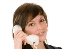 Mujer con el teléfono fotografía de archivo libre de regalías