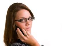 Mujer con el teléfono celular Fotos de archivo
