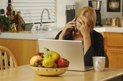 Mujer con el teléfono celular y la computadora portátil Imagen de archivo libre de regalías